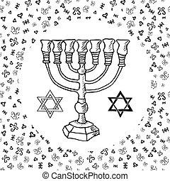 Hand drawn sketch of menorah traditional Jewish symbols, Rosh Hashanah, Hanukkah, Shana Tova, vector illustration on ornamental pattern.