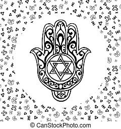 Hand drawn sketch Jewish symbols - Hand drawn sketch of...