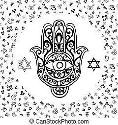 Star of david sketch. Doodle style star of david jewish ...
