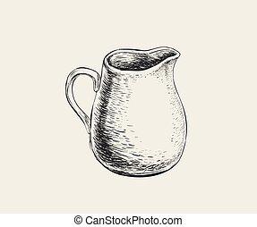 Hand Drawn Sketch Jug. Vector Illustration.