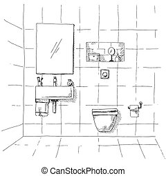 Hand drawn sketch. Linear sketch of an interior. Part of the bathroom. Vector illustration.