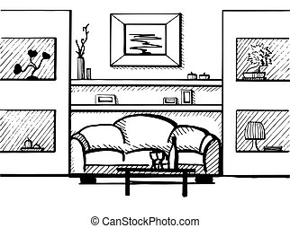 Hand drawn sketch. Linear sketch of an interior. Vector illustration