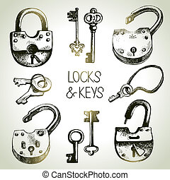 Hand drawn sketch locks and keys set. Vector illustration