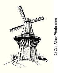 Hand Drawn Sketch Mill Vector illustration
