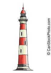Hand drawn sketch of a lighthouse in color, isolated on a white background. Detailed drawing in the style of vintage. Vector illustration