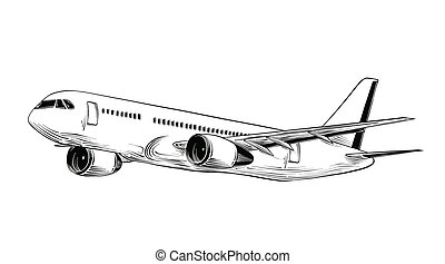 Hand drawn sketch of aircraft in black isolated on white background. Detailed vintage style drawing. Illustration for posters and print