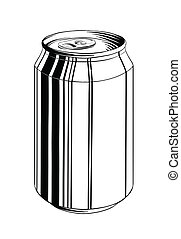 Hand drawn sketch of aluminum can in black isolated on white background. Detailed vintage style drawing, for posters, decoration and print.. Vector illustration