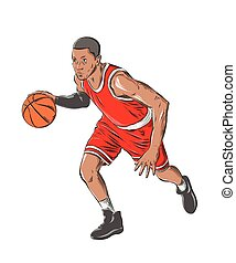 Hand drawn sketch of basketball player in color, isolated on white background. Detailed vintage style drawing. Vector illustration