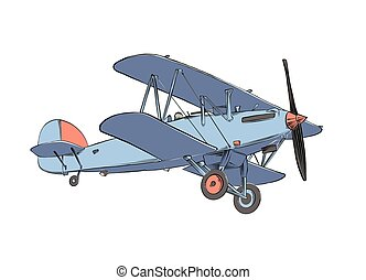 Hand drawn sketch of biplane aircraft in color. Isolated on white background. Drawing for posters, decoration and print. Vector illustration