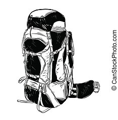 Hand drawn sketch of camping backpack in black isolated on white background. Detailed vintage style drawing. Vector illustration