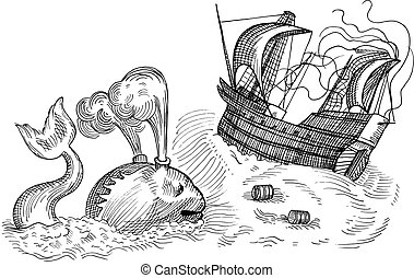 monster and sailing ship