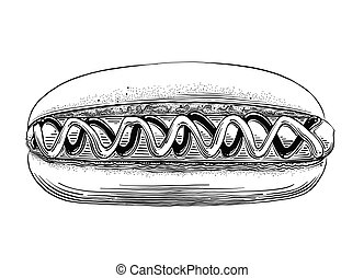Hand drawn sketch of Hot Dog in black isolated on white background. Detailed vintage style drawing. Vector illustration