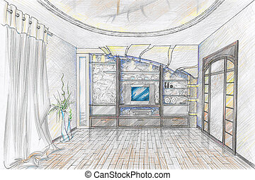 Sketch of interior of sitting-room - Hand drawn Sketch of...