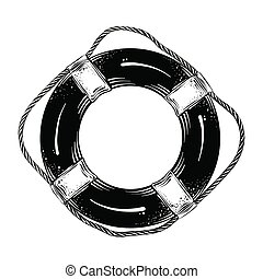 Hand drawn sketch of lifebuoy in black isolated on white background. Detailed vintage style drawing. Vector illustration