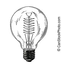 Hand drawn sketch of lightbulb in black isolated on white background. Detailed vintage style drawing. Vector illustration