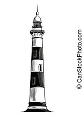 Hand drawn sketch of lighthouse in black isolated on white background. Detailed vintage style drawing. Vector illustration