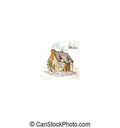 Hand drawn sketch of  little house