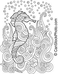 Hand drawn sketch of seahorse under the sea in zentangle inspired style.