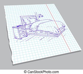 Hand drawn sketch of the interior on a notebook sheet. Sketch Line bedrooms.