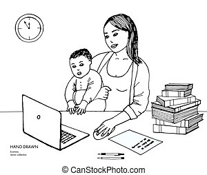 Hand drawn sketch of young mom working on laptop holding her baby boy. Computer, pc, books, clock. White background