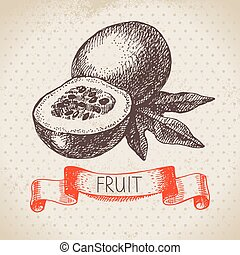 Hand drawn sketch passion fruit. Eco food background. Vector...