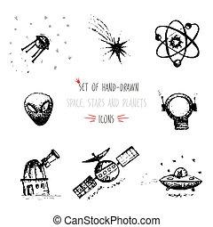 Hand-drawn sketch Planet icon set