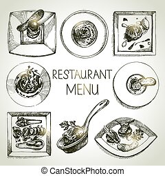 Hand drawn sketch restaurant food set. European cuisine...