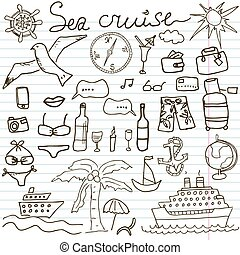 Hand drawn sketch sea cruise doodle