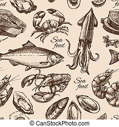 Hand drawn sketch seafood seamless pattern. Vintage style...