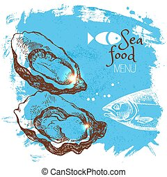 Hand drawn sketch seafood vector illustration. Sea poster ...