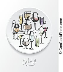 Hand drawn sketch set of alcohol drinks and cocktails....
