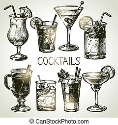 Hand drawn sketch set of alcoholic cocktails. Vector...
