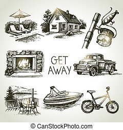 Hand drawn sketch set of family vacation. Vector...