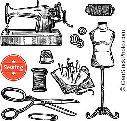 Hand Drawn Sketch Sewing Set - Hand drawn sketch sewing set...