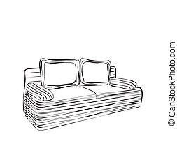 Hand drawn sketch sofa card. - Hand drawn sketch sofa....