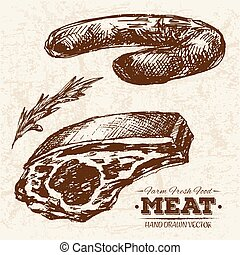 Hand drawn sketch steak meat products set
