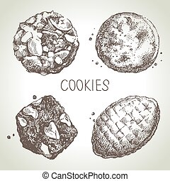 Hand drawn sketch sweet cookies set. Vector illustration