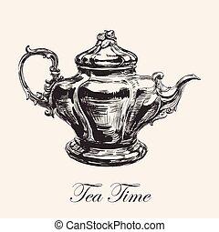 Hand Drawn Sketch Teapot Vector illustration