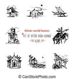 Hand-drawn sketch travel and vacation icon collection, different ethnic houses of world Black on white background