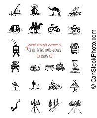 Hand-drawn sketch travel and vacation icon collection, different transportation and direction indicators. Black on white background