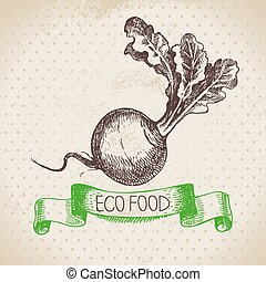 Hand drawn sketch turnip vegetable. Eco food background. ...