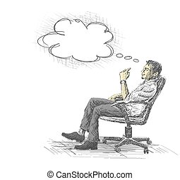 Thoughtful young businessman sitting on office chair.
