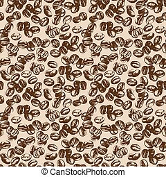 Hand drawn sketch vintage coffee beans seamless pattern.