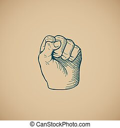 Hand drawn sketch vintage fist vector