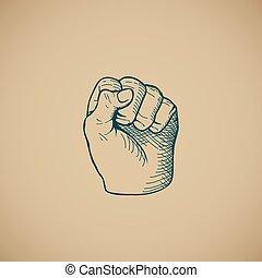 Hand drawn sketch vintage fist vector