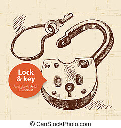 Hand drawn sketch vintage lock and key banner. Vector...