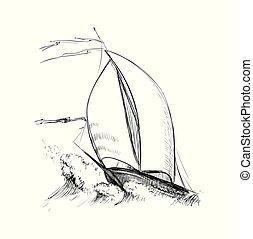 Hand Drawn Sketch Yacht Vector illustration