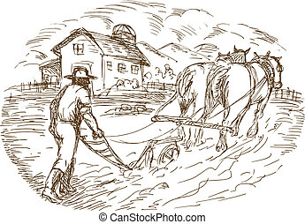 Farmer and horse plowing the field with barn farmhouse -...