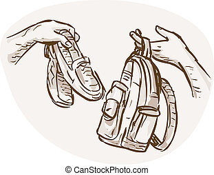 hand drawn sketched illustration of Hands Barter trading or swapping shoes and backpack or bag.