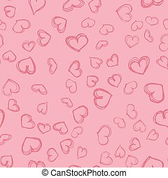 Hand drawn sketchyseamless pattern with hearts